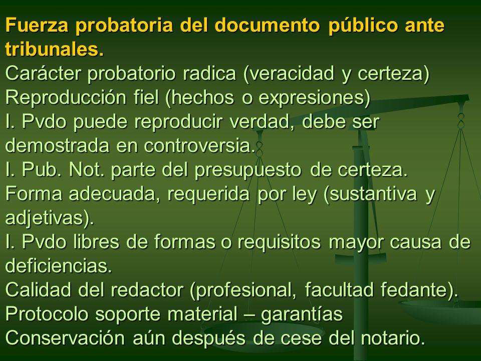 Fuerza probatoria del documento público ante tribunales