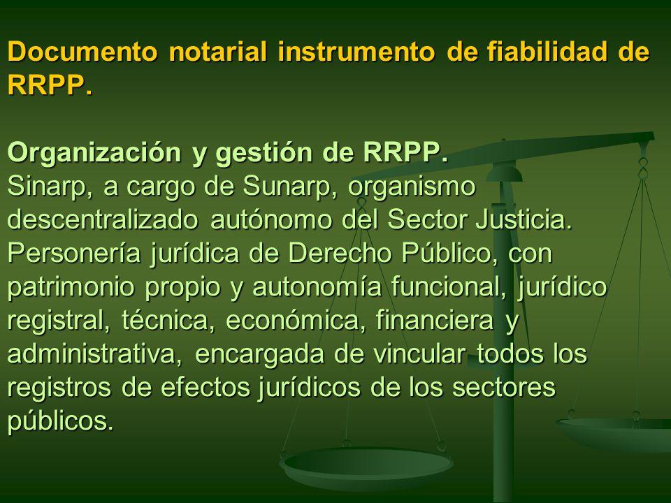 Documento notarial instrumento de fiabilidad de RRPP