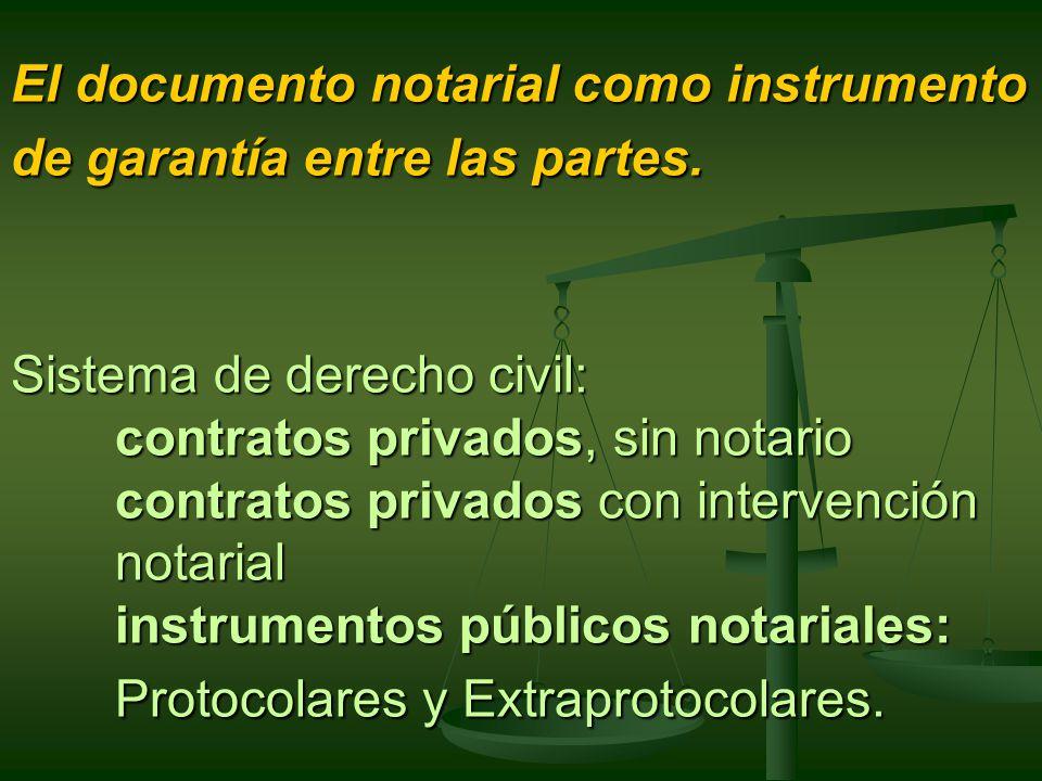 El documento notarial como instrumento de garantía entre las partes