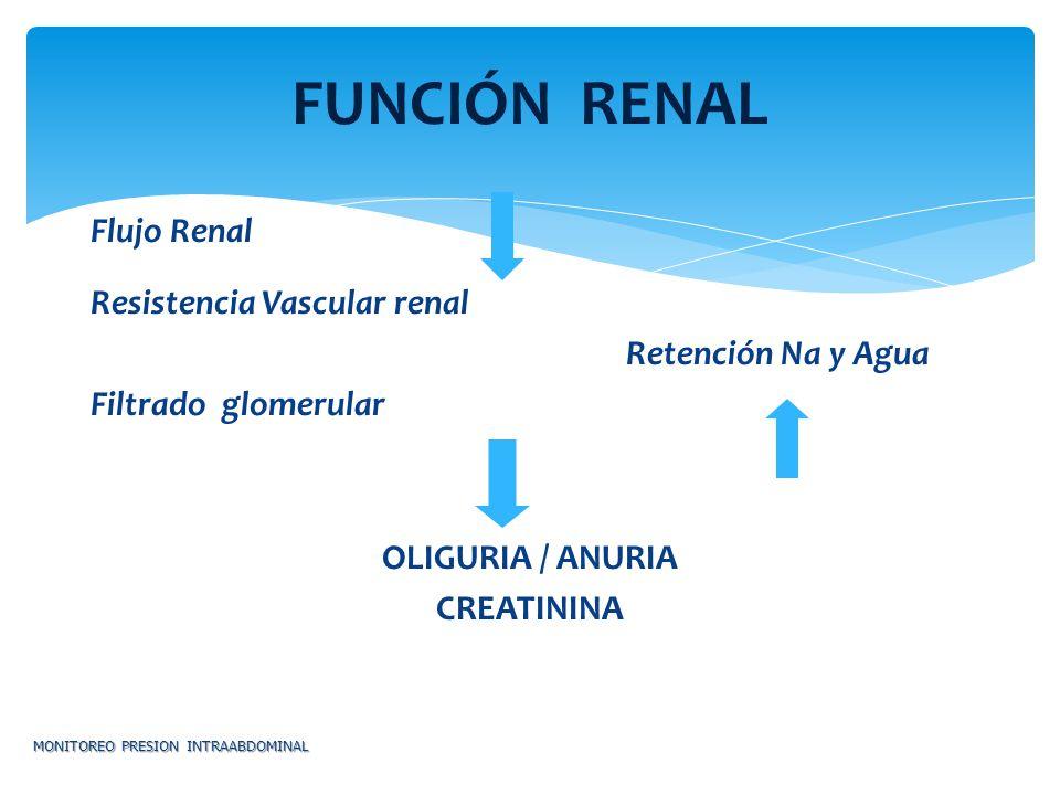 FUNCIÓN RENAL Flujo Renal Resistencia Vascular renal