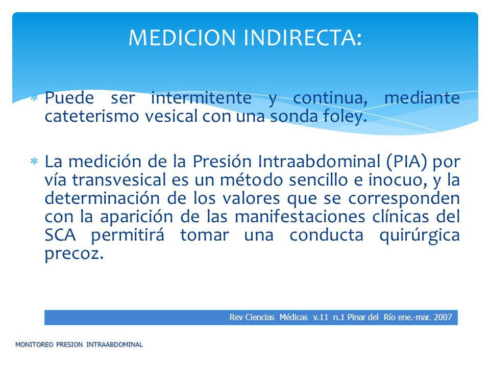 MEDICION INDIRECTA: Puede ser intermitente y continua, mediante cateterismo vesical con una sonda foley.