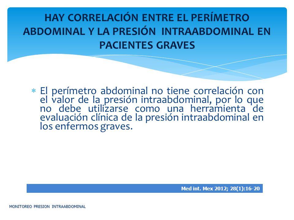 HAY CORRELACIÓN ENTRE EL PERÍMETRO ABDOMINAL Y LA PRESIÓN INTRAABDOMINAL EN PACIENTES GRAVES