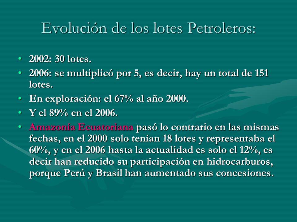 Evolución de los lotes Petroleros: