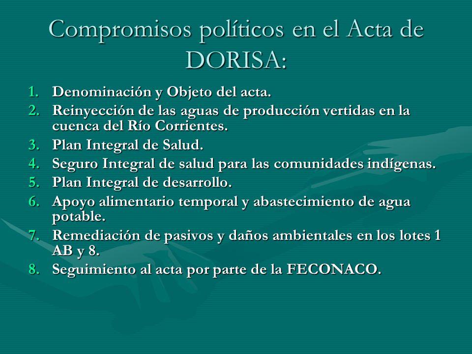 Compromisos políticos en el Acta de DORISA: