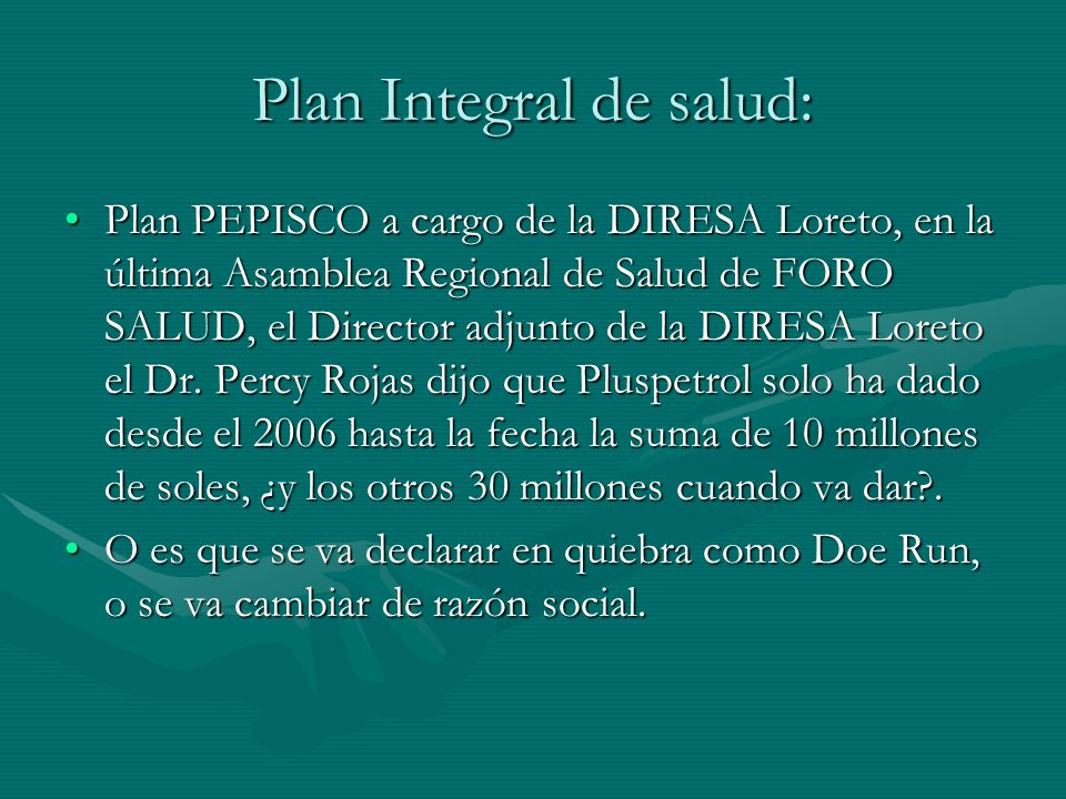 Plan Integral de salud: