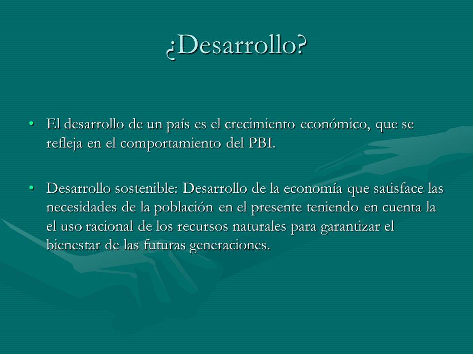 ¿Desarrollo El desarrollo de un país es el crecimiento económico, que se refleja en el comportamiento del PBI.