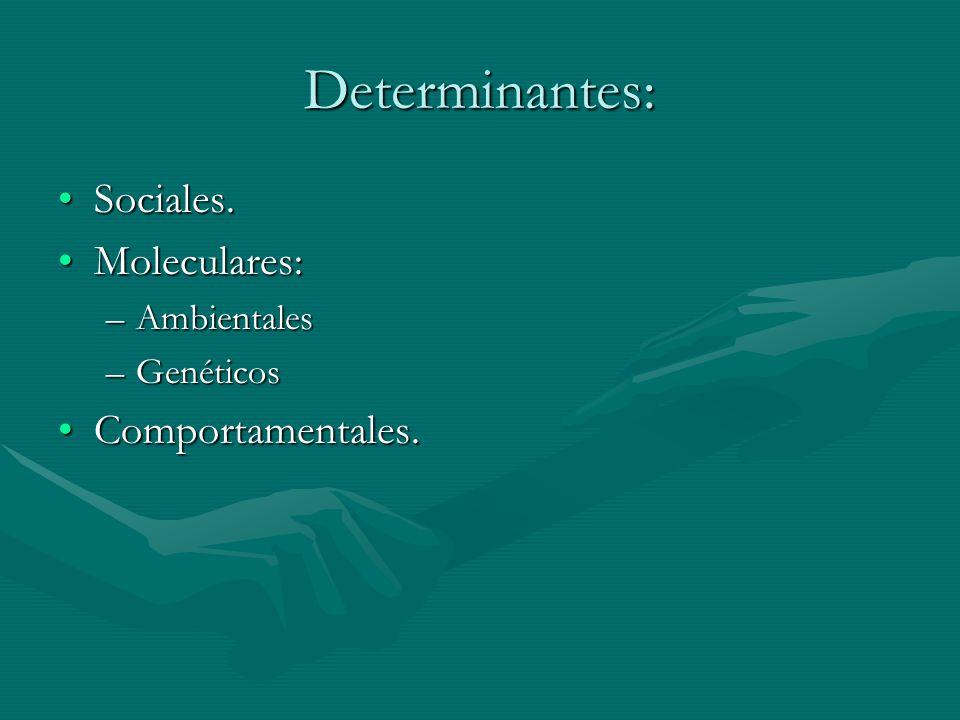 Determinantes: Sociales. Moleculares: Comportamentales. Ambientales