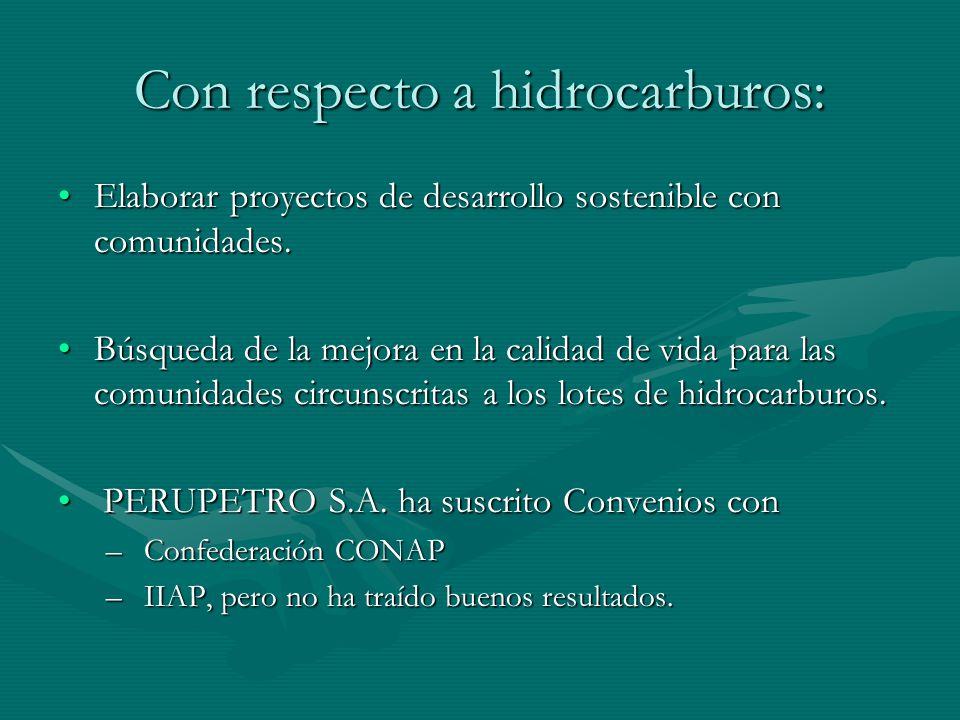 Con respecto a hidrocarburos: