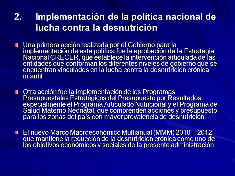 2. Implementación de la política nacional de lucha contra la desnutrición