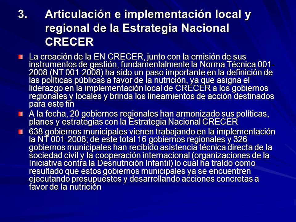 3. Articulación e implementación local y regional de la Estrategia Nacional CRECER