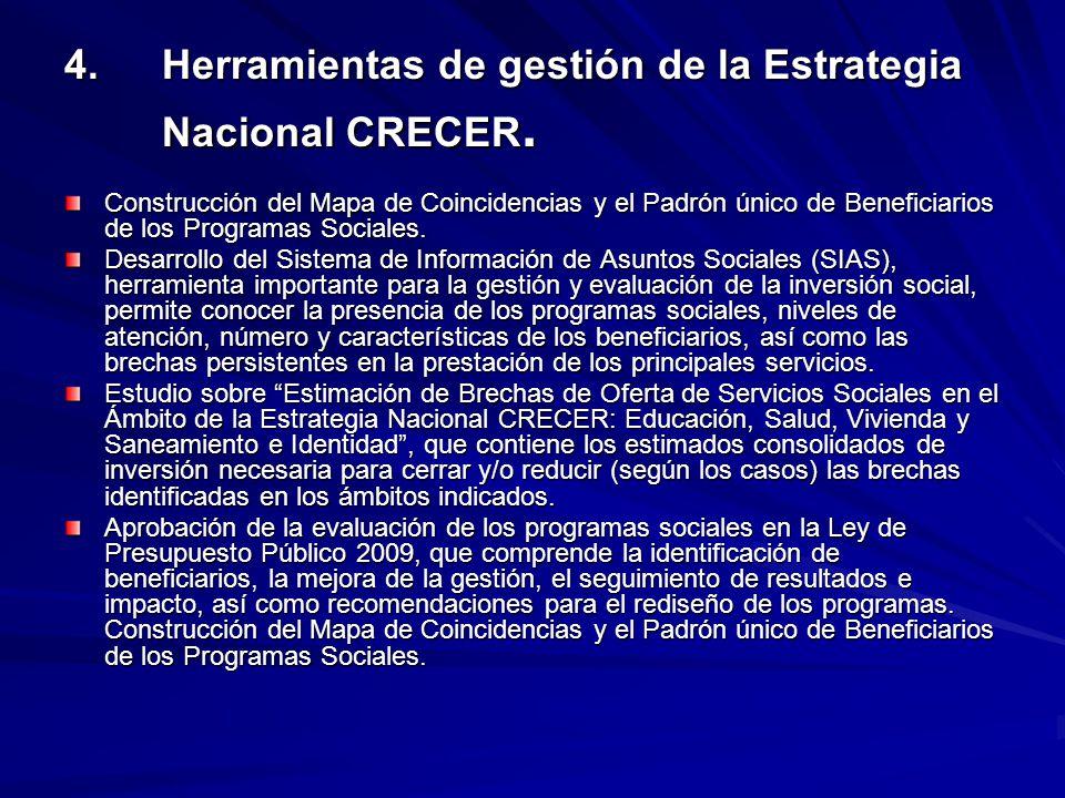 4. Herramientas de gestión de la Estrategia Nacional CRECER.