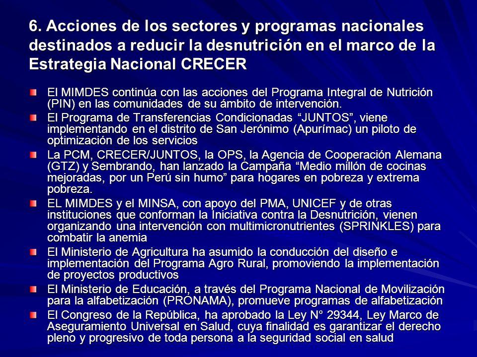 6. Acciones de los sectores y programas nacionales destinados a reducir la desnutrición en el marco de la Estrategia Nacional CRECER