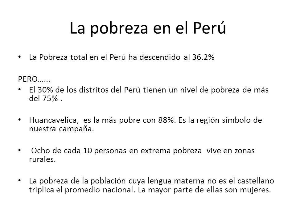 La pobreza en el Perú La Pobreza total en el Perú ha descendido al 36.2% PERO…...