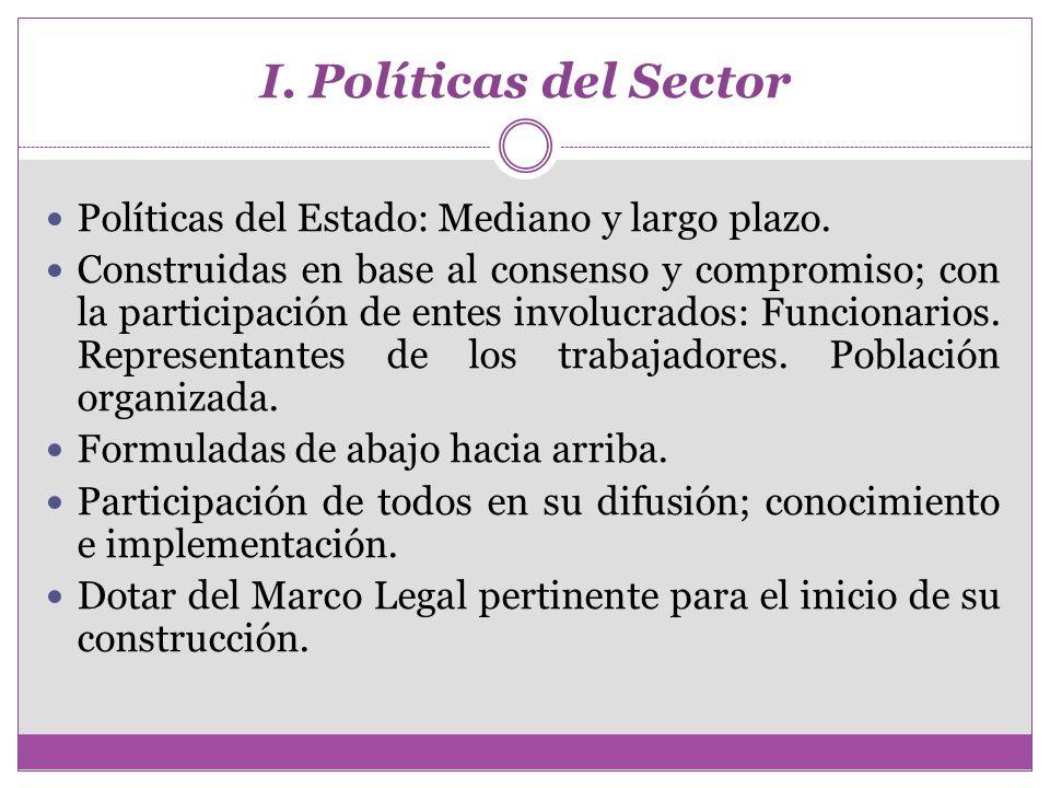 I. Políticas del Sector Políticas del Estado: Mediano y largo plazo.