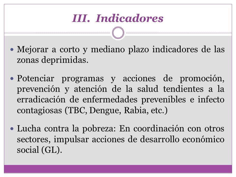 III. Indicadores Mejorar a corto y mediano plazo indicadores de las zonas deprimidas.