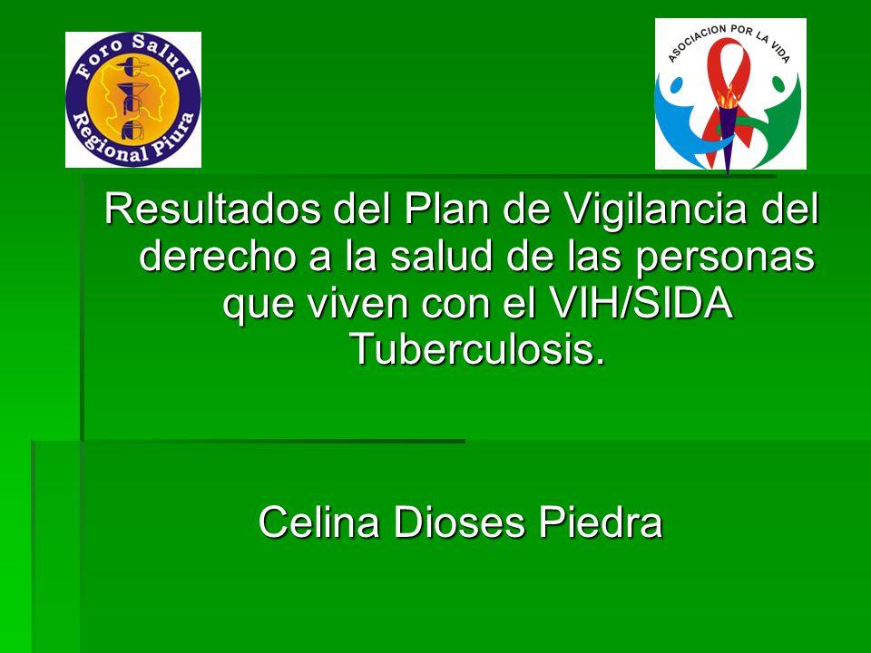Resultados del Plan de Vigilancia del derecho a la salud de las personas que viven con el VIH/SIDA Tuberculosis.
