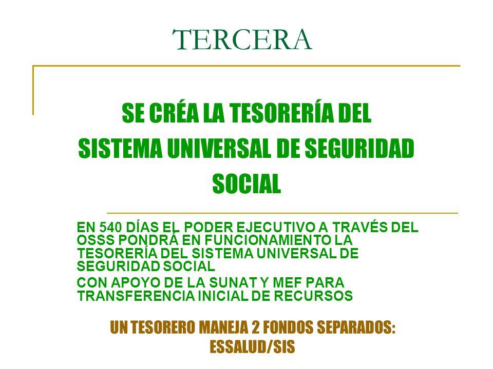 TERCERA SE CRÉA LA TESORERÍA DEL SISTEMA UNIVERSAL DE SEGURIDAD SOCIAL