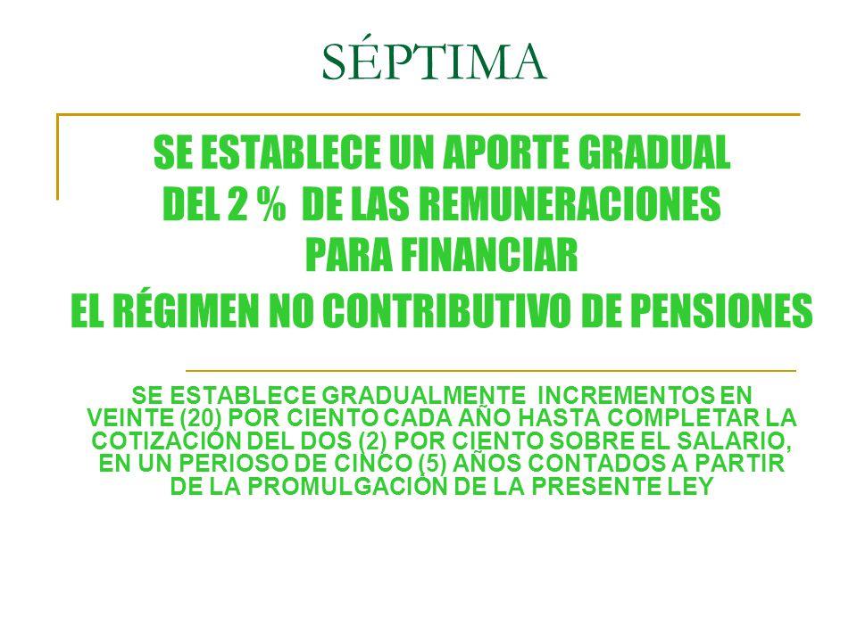 SÉPTIMA SE ESTABLECE UN APORTE GRADUAL DEL 2 % DE LAS REMUNERACIONES