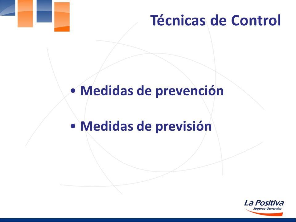 Técnicas de Control Medidas de prevención Medidas de previsión