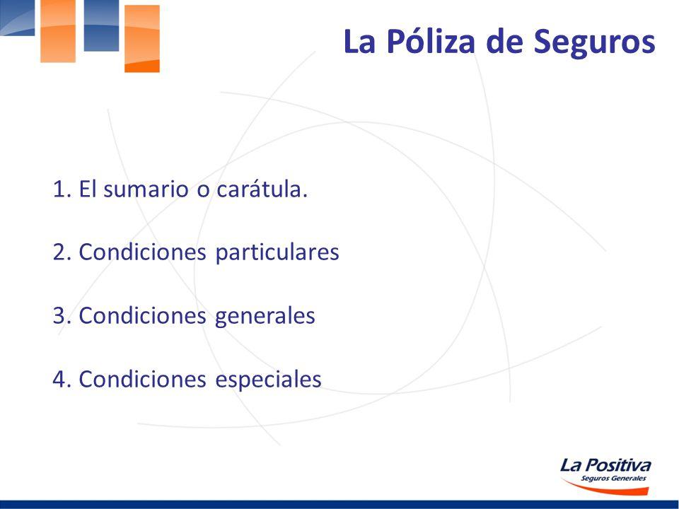 La Póliza de Seguros 1. El sumario o carátula.