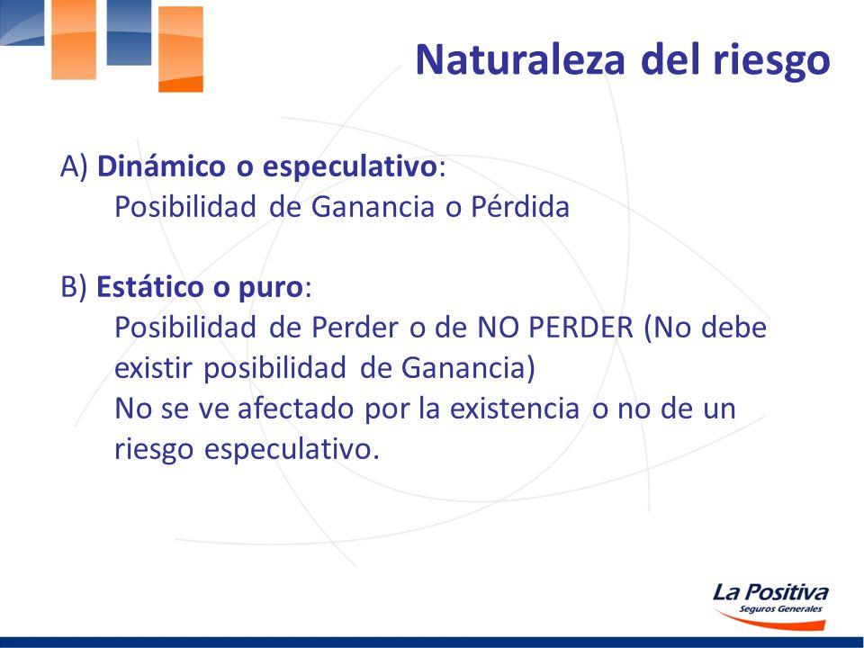 Naturaleza del riesgo A) Dinámico o especulativo: