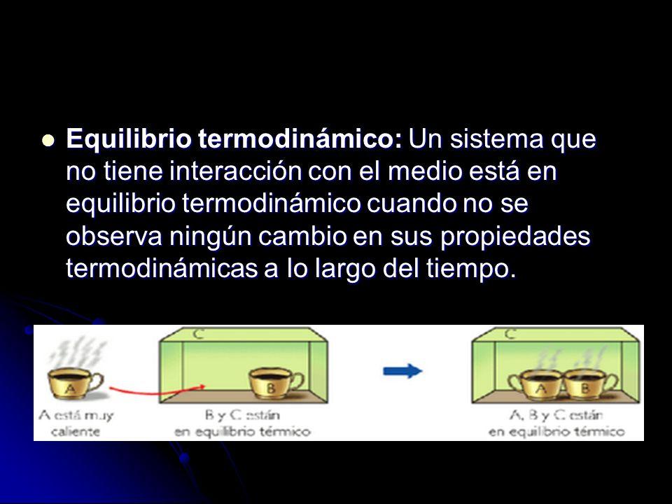 Equilibrio termodinámico: Un sistema que no tiene interacción con el medio está en equilibrio termodinámico cuando no se observa ningún cambio en sus propiedades termodinámicas a lo largo del tiempo.