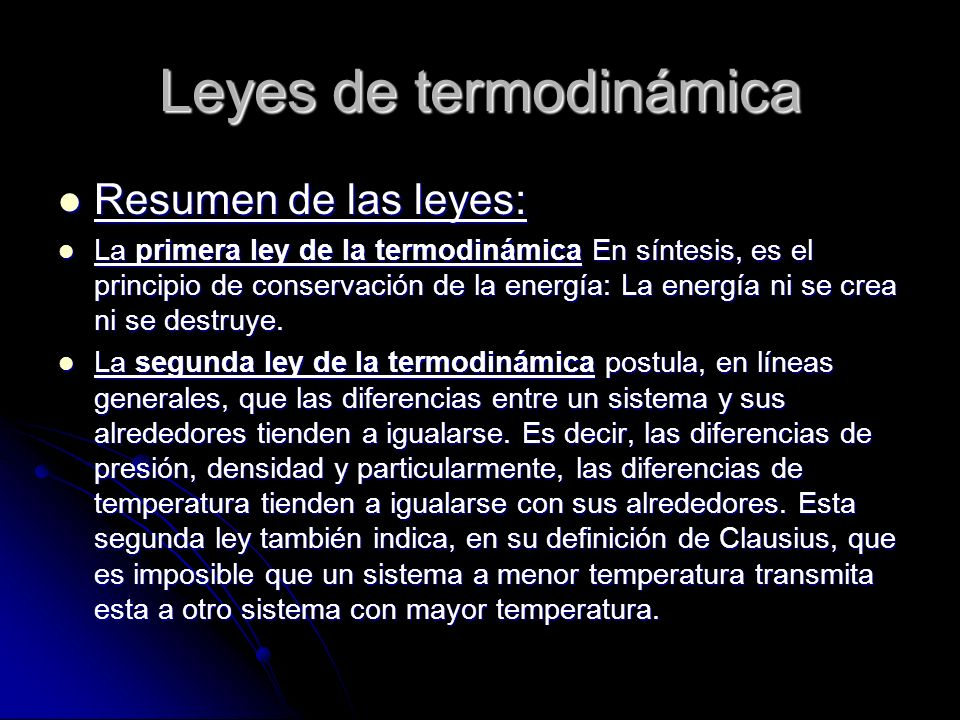 Leyes de termodinámica
