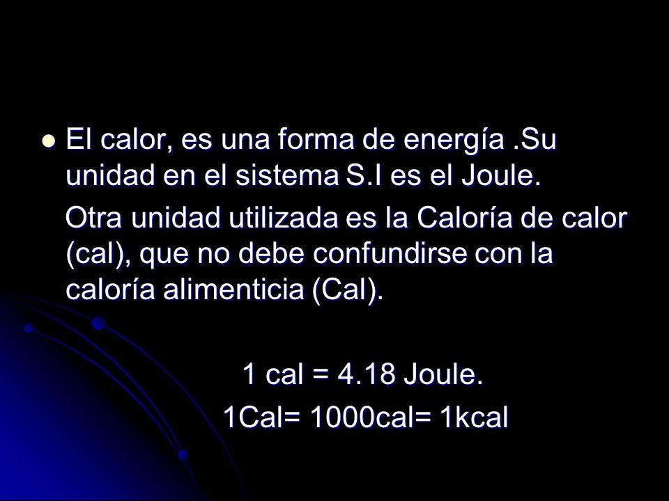 El calor, es una forma de energía. Su unidad en el sistema S