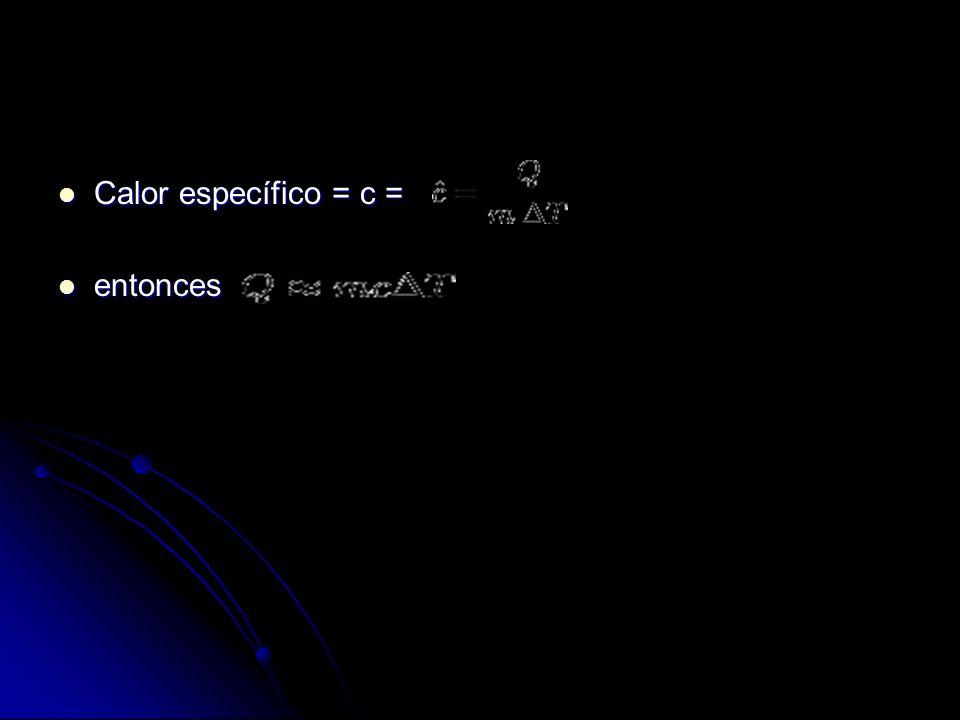 Calor específico = c = entonces