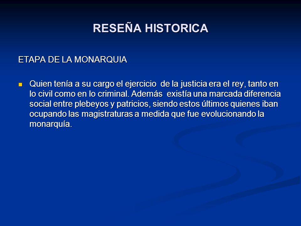 RESEÑA HISTORICA ETAPA DE LA MONARQUIA