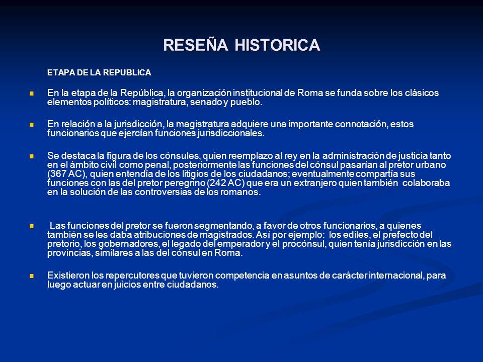 RESEÑA HISTORICA ETAPA DE LA REPUBLICA.