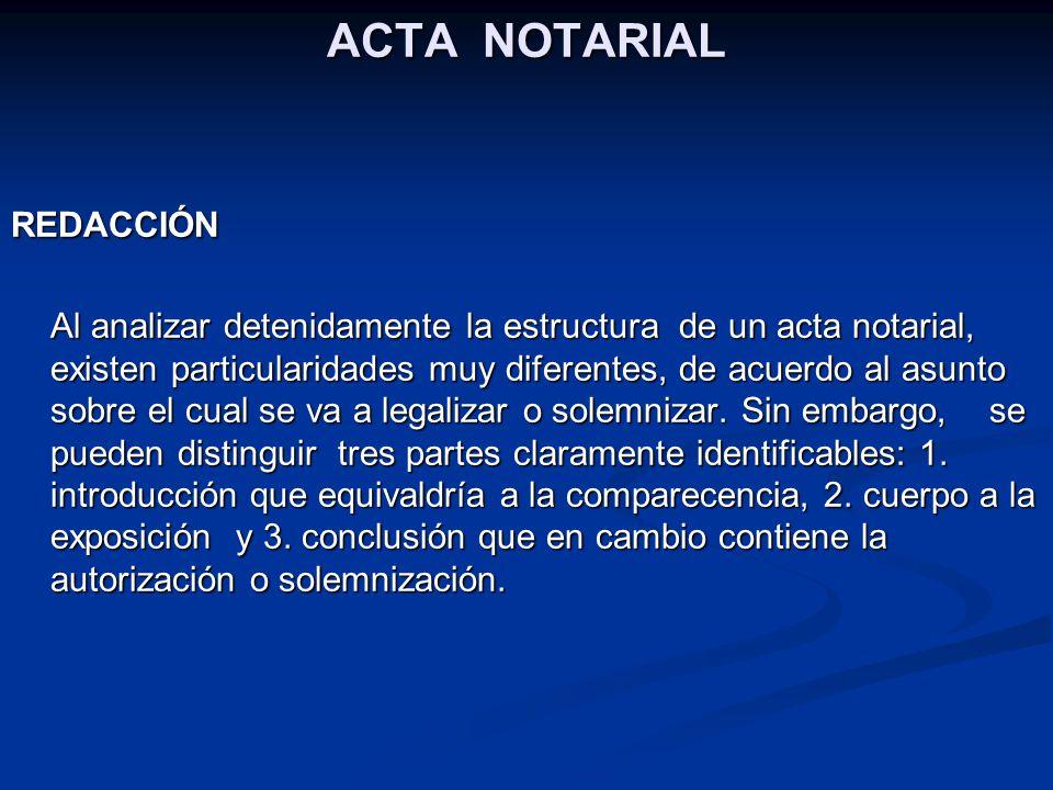 ACTA NOTARIAL REDACCIÓN