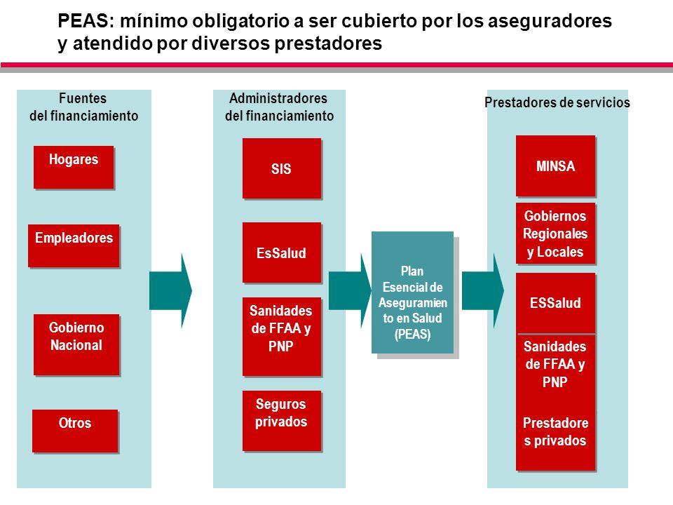 PEAS: mínimo obligatorio a ser cubierto por los aseguradores y atendido por diversos prestadores