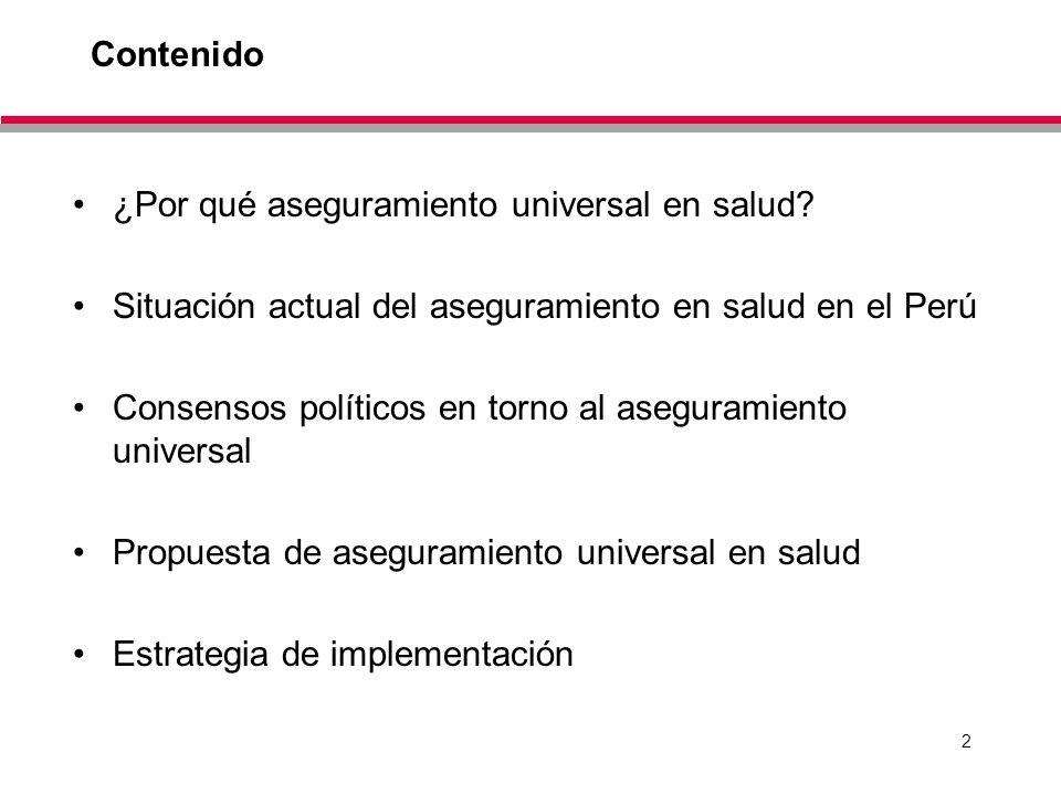 Contenido ¿Por qué aseguramiento universal en salud Situación actual del aseguramiento en salud en el Perú.