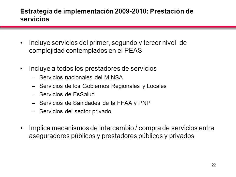 Estrategia de implementación 2009-2010: Prestación de servicios