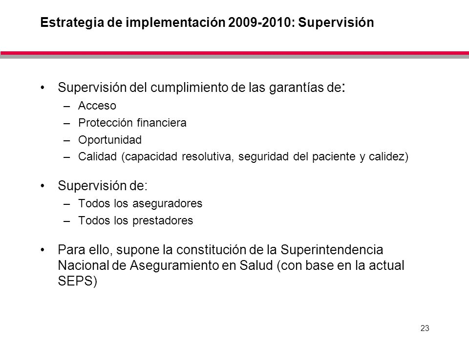 Estrategia de implementación 2009-2010: Supervisión