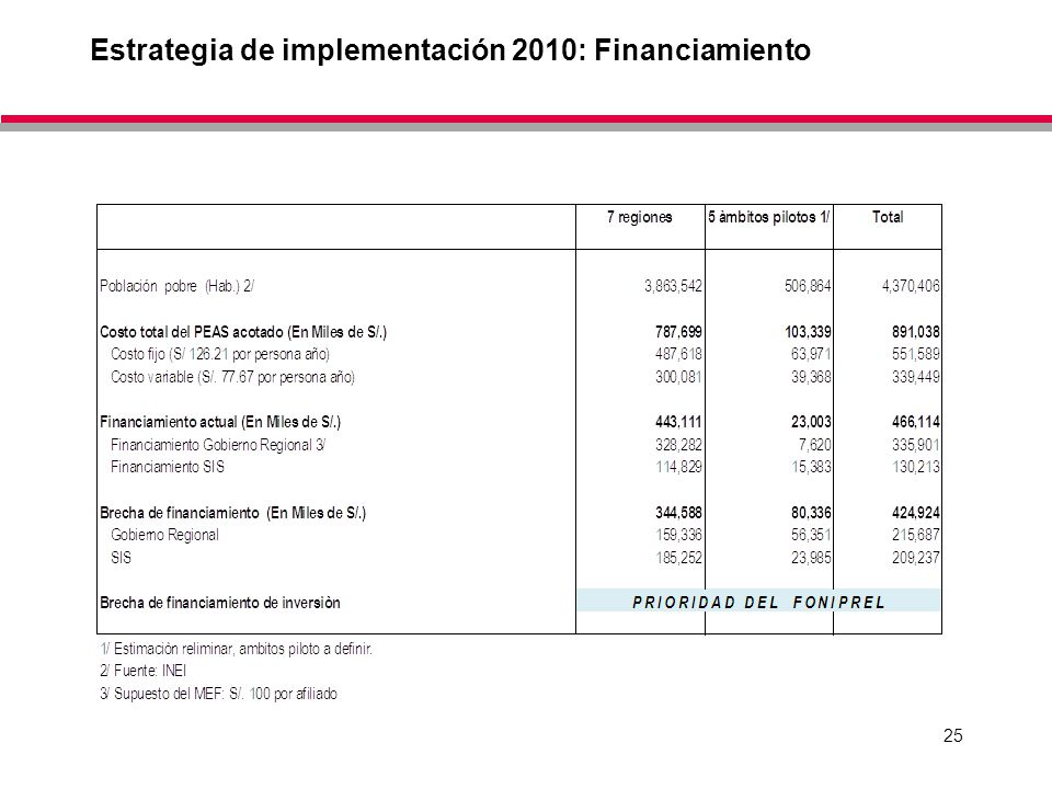 Estrategia de implementación 2010: Financiamiento