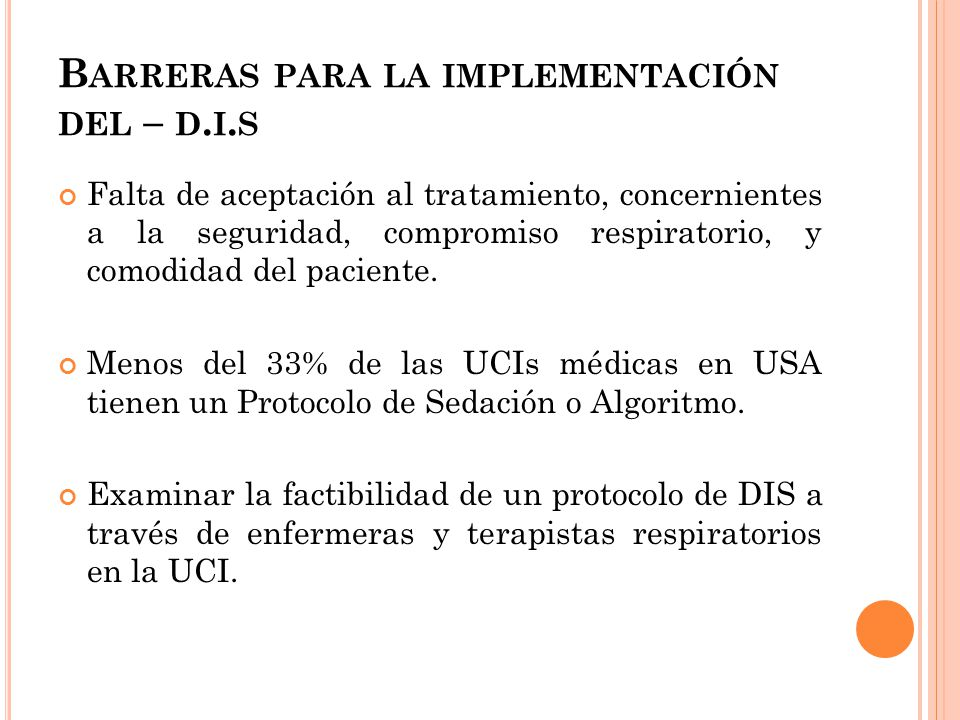 Barreras para la implementación del – d.i.s