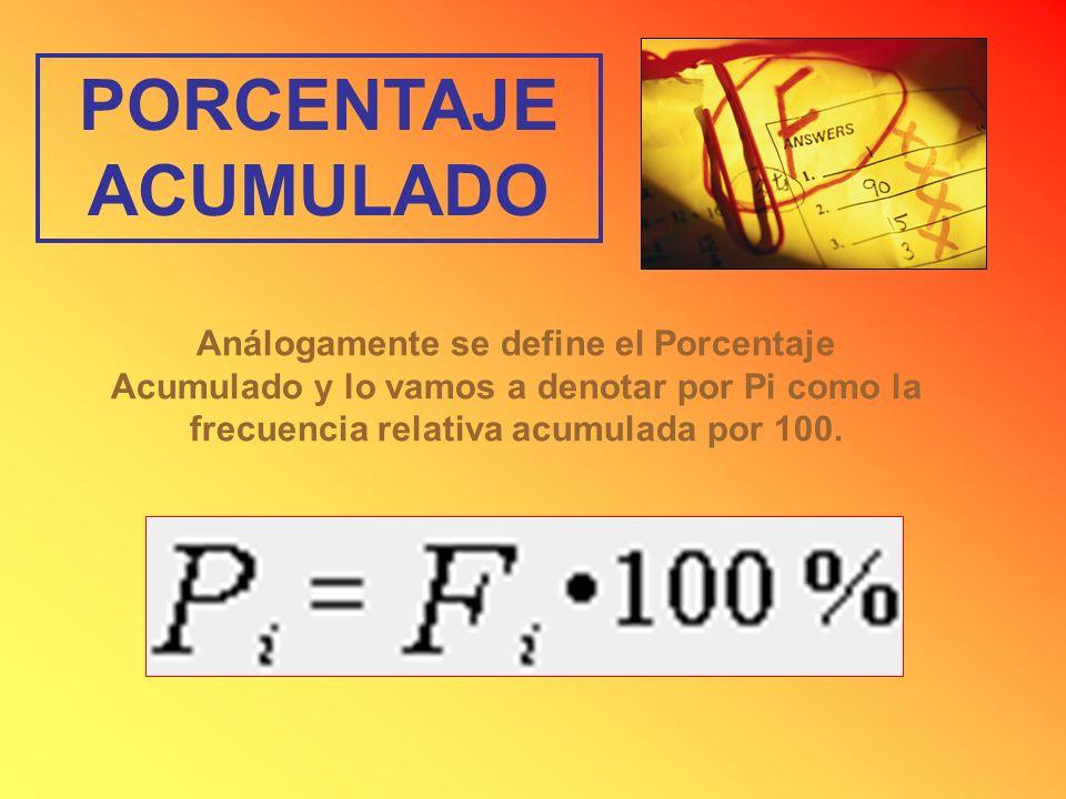 PORCENTAJE ACUMULADOAnálogamente se define el Porcentaje Acumulado y lo vamos a denotar por Pi como la frecuencia relativa acumulada por 100.