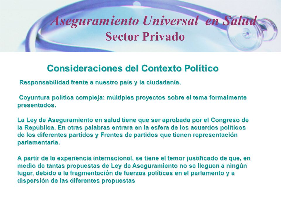 Consideraciones del Contexto Político