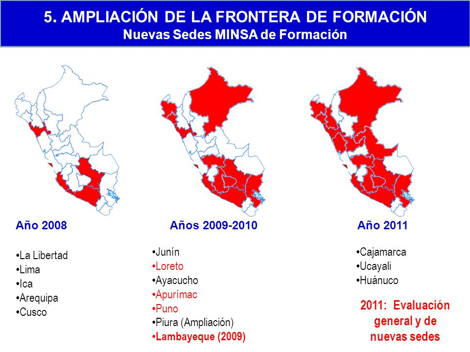 2011: Evaluación general y de nuevas sedes