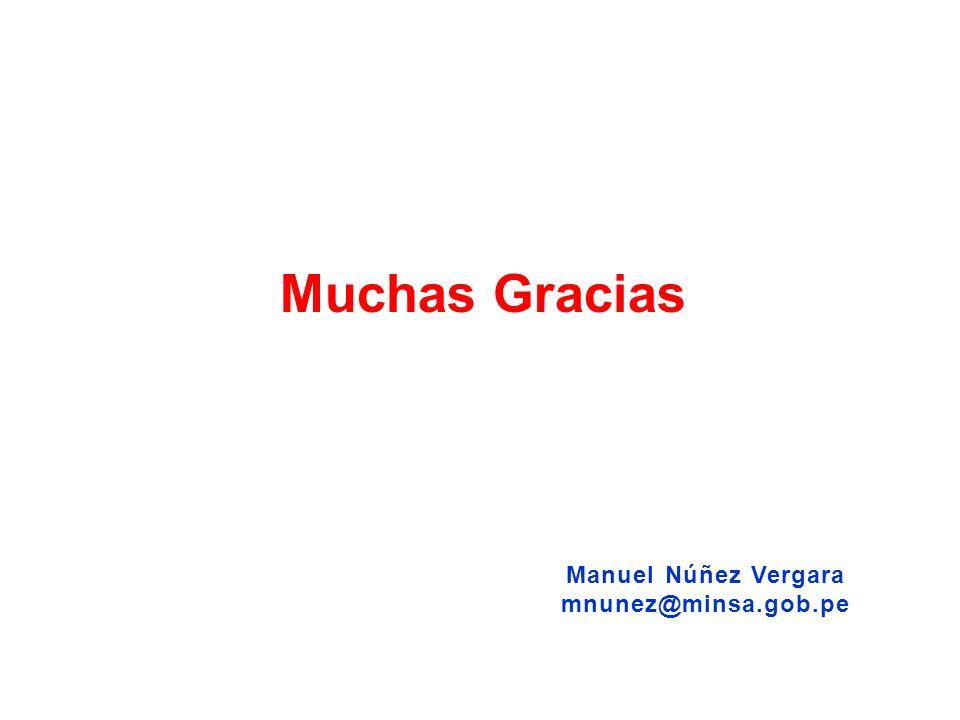 Muchas Gracias Manuel Núñez Vergara mnunez@minsa.gob.pe