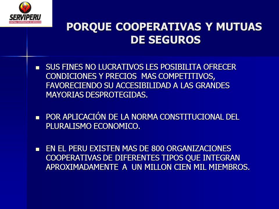 PORQUE COOPERATIVAS Y MUTUAS DE SEGUROS