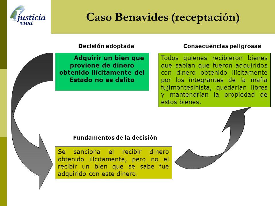Caso Benavides (receptación) Consecuencias peligrosas