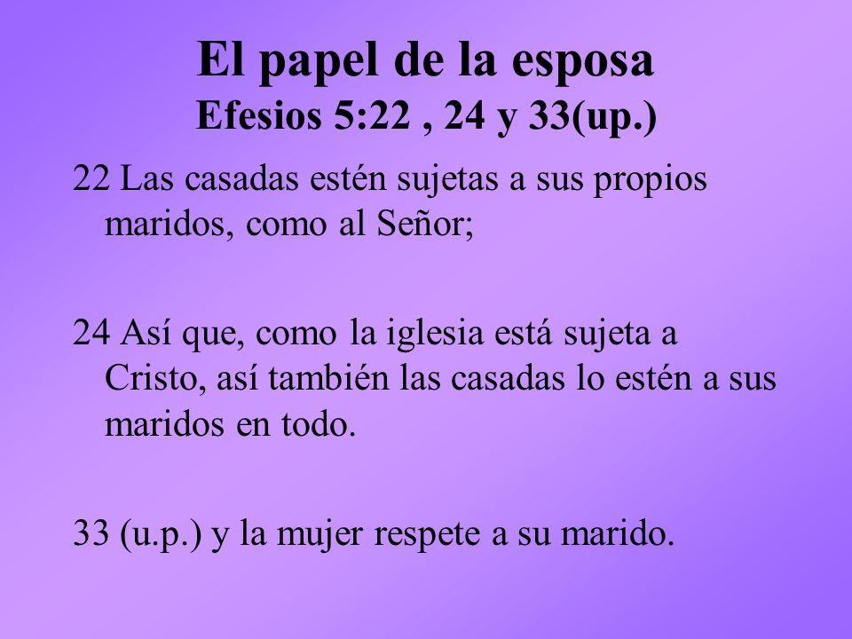 El papel de la esposa Efesios 5:22 , 24 y 33(up.)