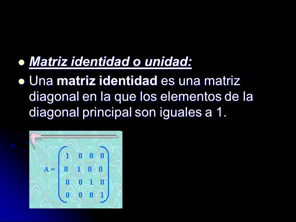 Matriz identidad o unidad: