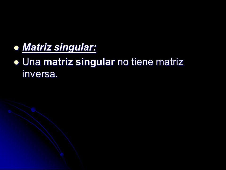 Matriz singular: Una matriz singular no tiene matriz inversa.