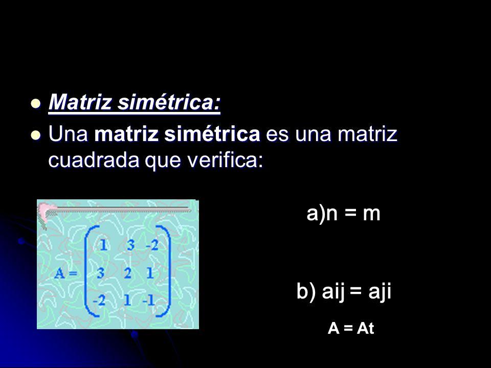 Una matriz simétrica es una matriz cuadrada que verifica: