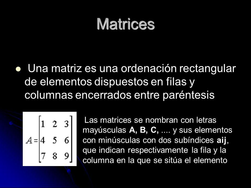 Matrices Una matriz es una ordenación rectangular de elementos dispuestos en filas y columnas encerrados entre paréntesis.