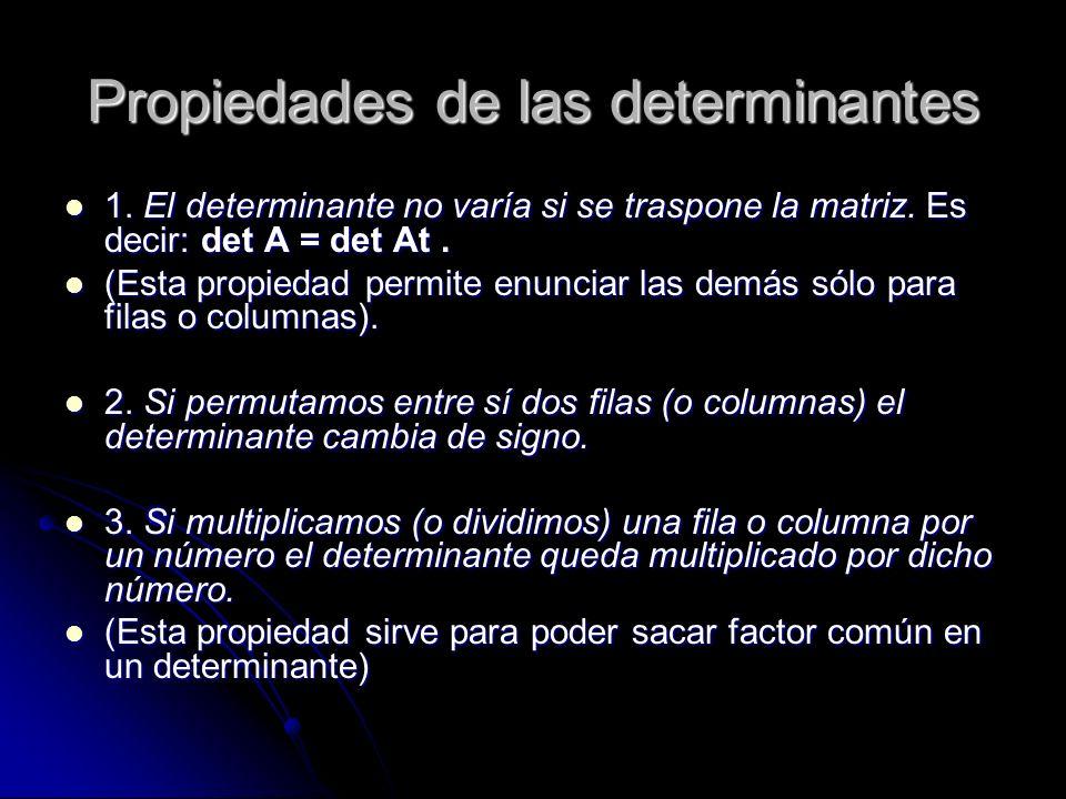 Propiedades de las determinantes